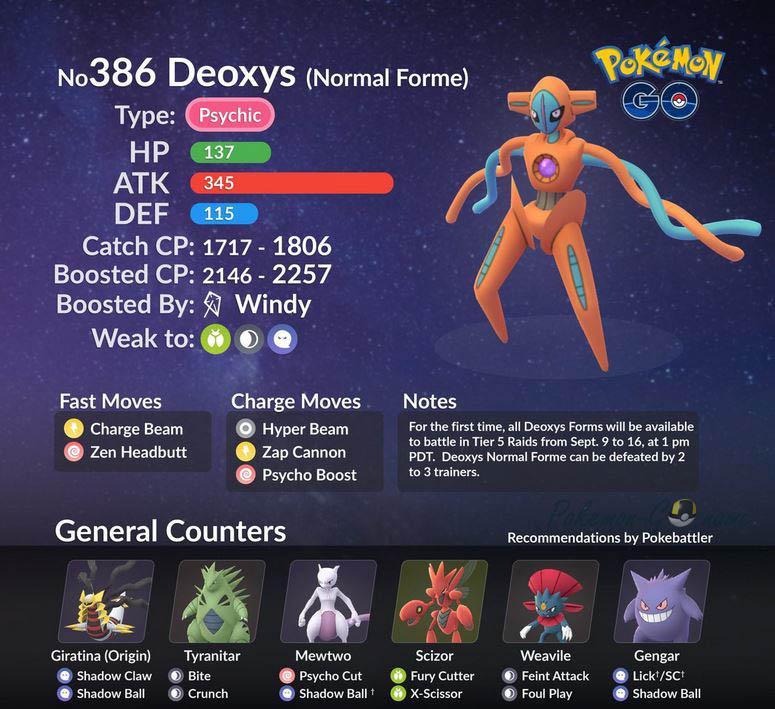 Кем победить нормальную форму Деоксис в Покемон ГО