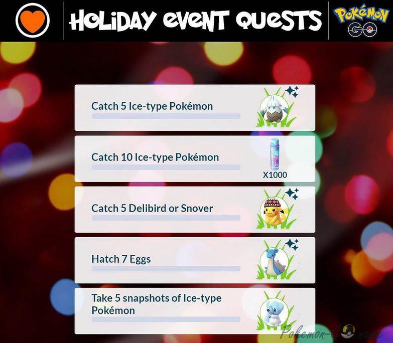 Pokemon GO Holidays 2019 Quests