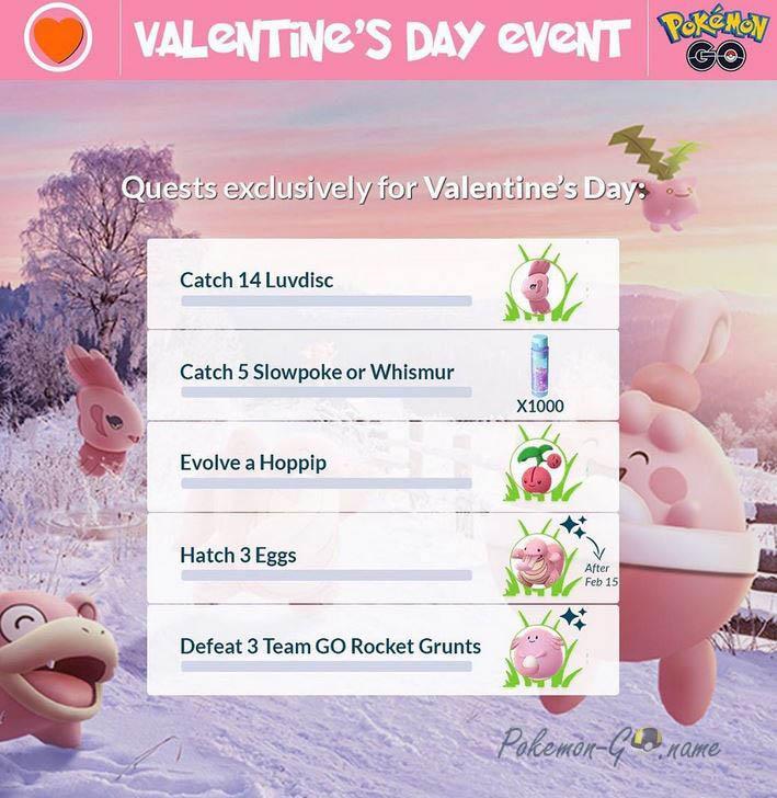 Задания на День святого Валентина в Покемон ГО