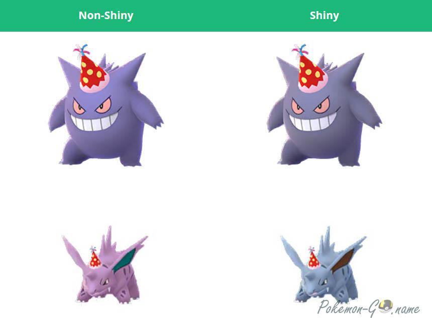 Shiny Party Hat Gengar and Nidorino