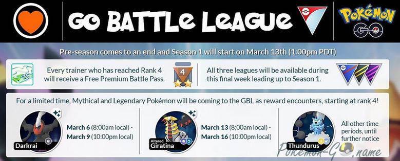 Выходные легендарных Покемонов в GO Battle League