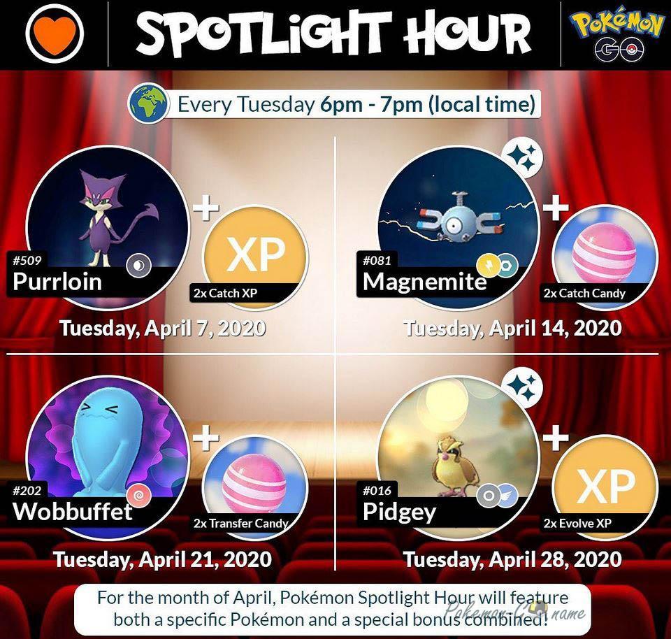 Pokemon GO April 2020 Spotlight и Mystery Bonus Hour