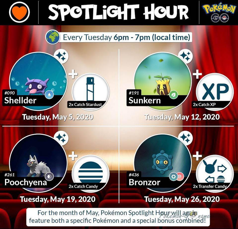 Pokemon GO Spotlight и Mystery Bonus Hour Event - May 2020