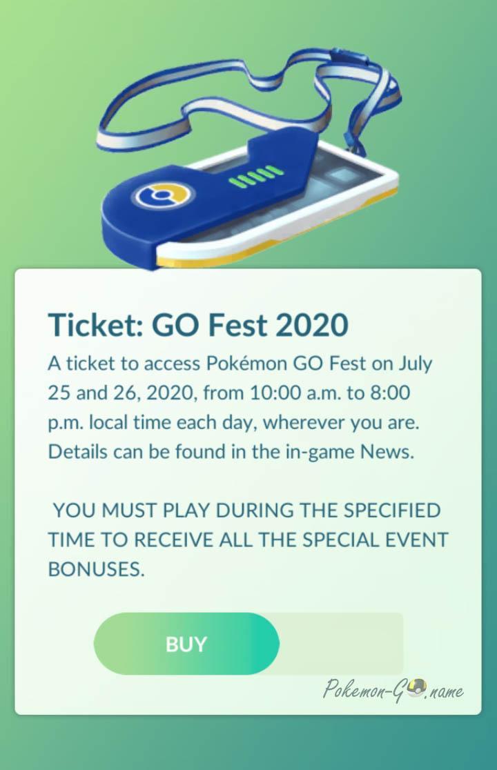 Pokemon GO Fest 2020 Ticket