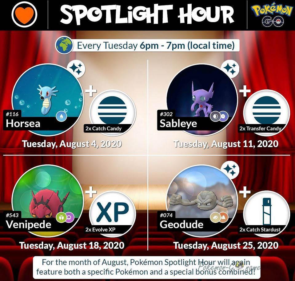 Событие Spotlight Hour в Покемон ГО в августе 2020