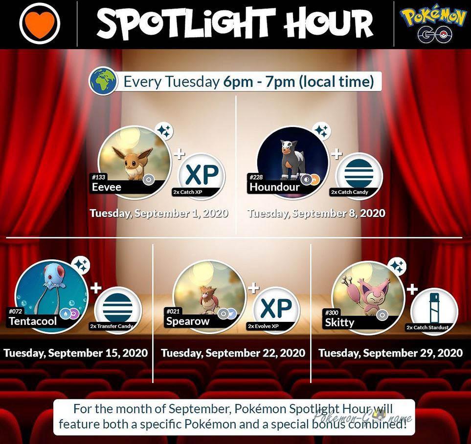 Pokemon GO Spotlight Hours - Сентябрь 2020