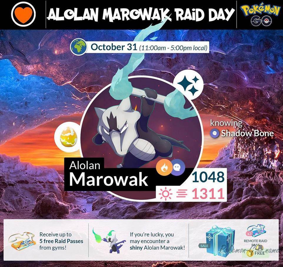 Инфографика события Alola Marowak Raid Day