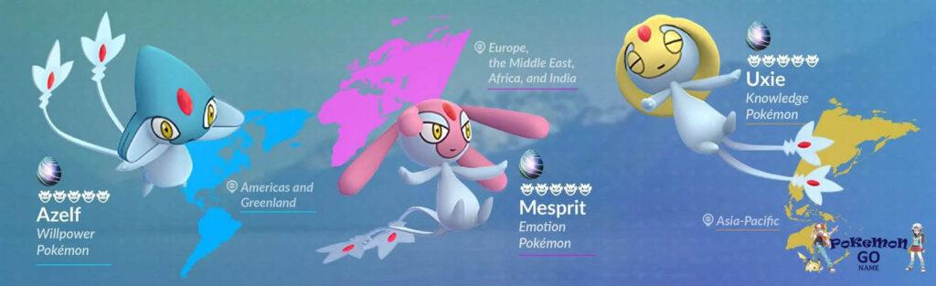 Как найти Mesprit, Uxie, Azelf в Pokemon GO