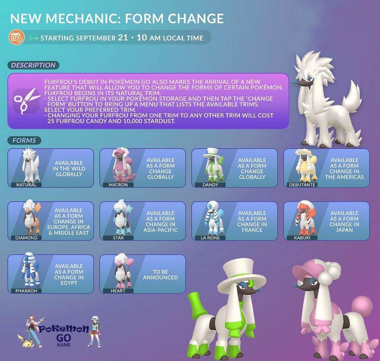 Как поменять форму и прическу Покемона Фурфру